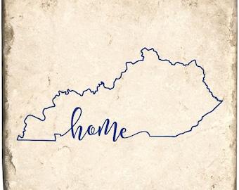 Blue Kentucky Home Marble Coaster