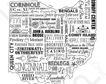 Cincinnati, Ohio Collage Black & White Art Print