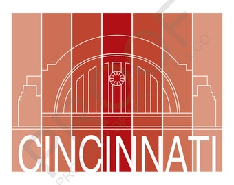 Union Terminal Cincinnati, Ohio Red Shaded Art Print