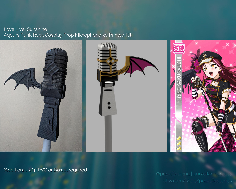 Love Live Sunshine Aqours Punk Rock Cosplay Prop Microphone Etsy