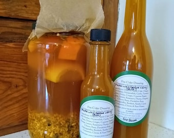 Fire Cider Spicy Extract with Horseradish, Garlic, Ginger, Turmeric, Clove, Cayenne, Lemon, Orange & Raw Honey 4 Immune Support 5 or 12 oz.