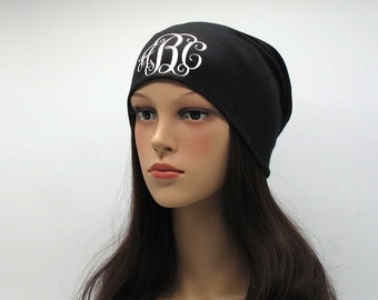 f2ed79f4386 Monogram XBeanie Custom Vine Personalized Slouchy Beanie for Women Bohemian  Baggy Skull Cap Summer Fall Jersey Monogrammed Hats Cancer Chemo