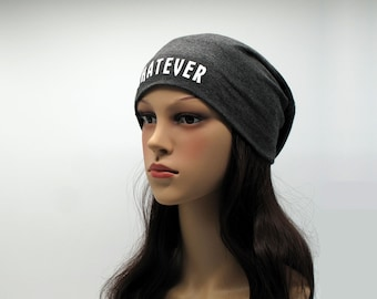bc8f463d31d Whatever XBeanie Funny Sarcastic Cool Slouchy Beanie Unisex Skull Cap  Jersey Hat Gift for University College Girls Friends Stylish Slogan