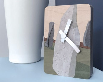 Standing Stones - One-off contemporary design hand-cut marquetry art clock.