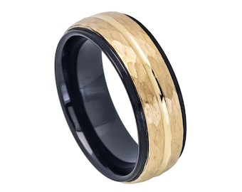 Groom/'s Ring Gold IP Plated Tungsten Ring 4mm Personalized Tungsten Wedding Band Skinny Ring Men/'s or Women/'s Wedding Band DOJTCR543