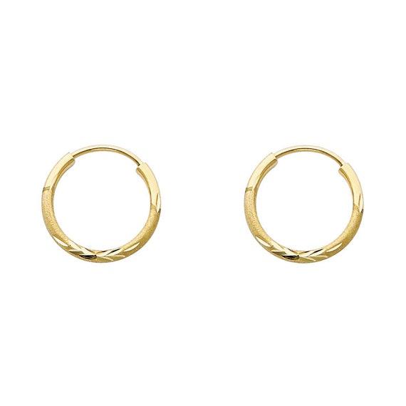 Small 14k Solid Gold Hoop Earrings Diamond Cut Huggie Hoop Earrings