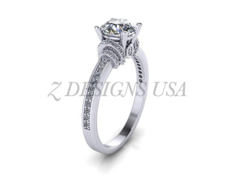 Unique Engagement Ring 14k Gold Moissanite Engagement Ring Round Cut Wedding Ring