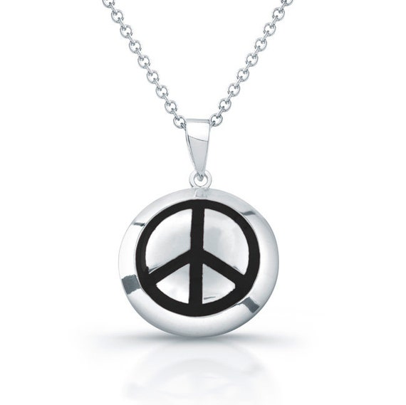 Sterling Silver Beaded Peace Sign Symbol Necklace on an 18 inch Box Chain