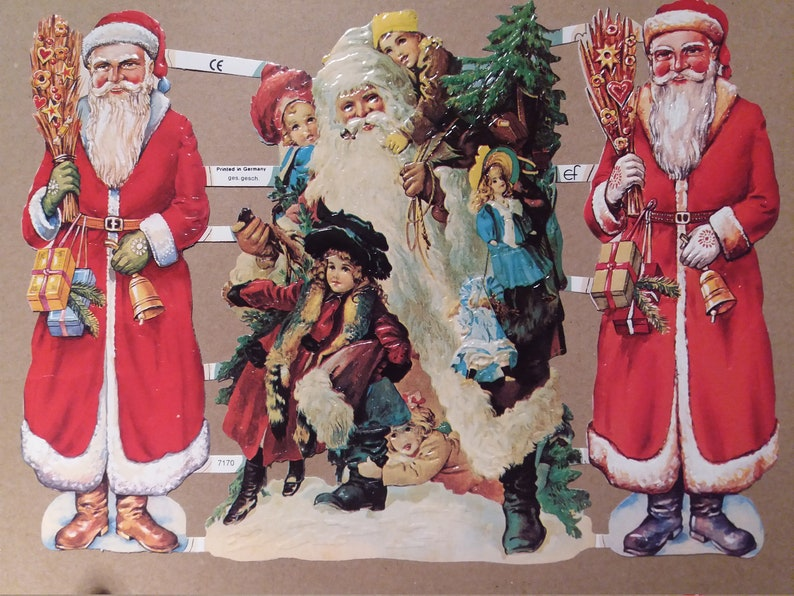 Glossy pictures Poetryb. Nostalgia Santa Claus, Christmas 6 different Christmas motifs without glitter 7385, 7071, 7160, 7153, 7159, 7258