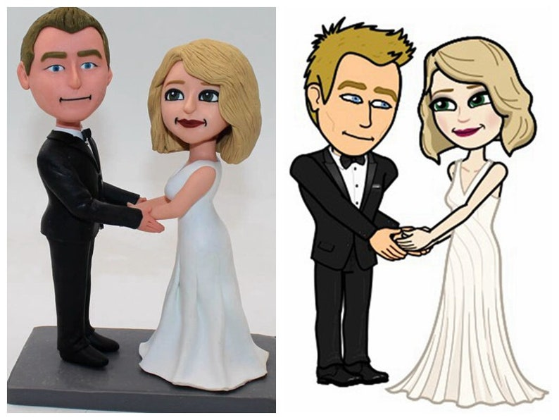 Personalized Wedding Cake Toppers With Cartoon Face