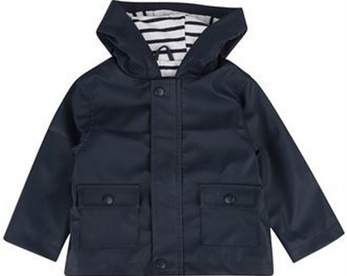 rain jacket, frieze ore, dark blue, lined, blue white striped, baby jacket, baby rain jacket, Hamburg, Hanseat, Hamburger Jung
