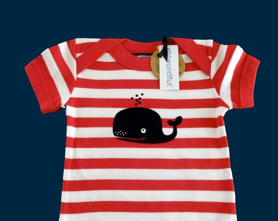 Maritime Baby BodyWAL r/W - FAIR TRADE - Red White Striped, Baby Bodysuit, Hamburg, Hamburg Gift, Baby Gift Whale