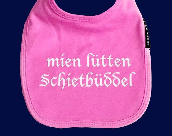 """Bib """"mien lütten Schietbüddel"""" pink or blue - FAIR TRADE - Sabberlatz, bib, Schietbüdel, Hamburg gifts, gift for birth"""