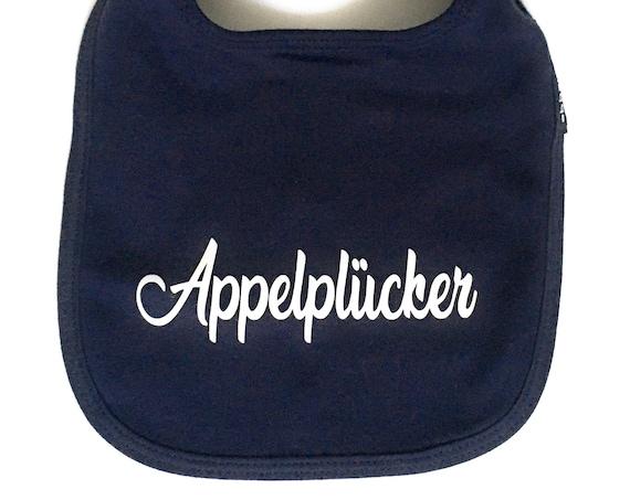"""Bib """"Appelplücker"""" - FAIR TRADE - Sabberlatz, Plattdeutsch, Altes Land, Hamburg Gifts, Gift for Birth"""