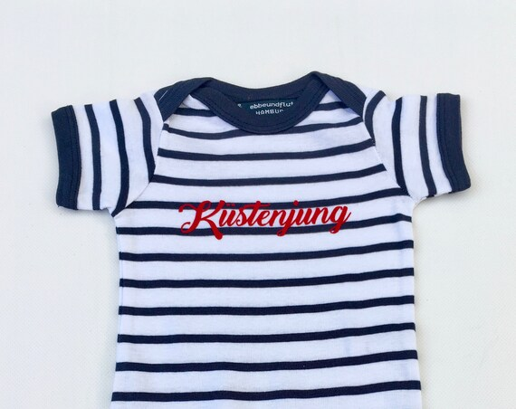 Baby Body Coastal Young-white-striped blue-maritime, coastal boy, baby strampler summer, coast, beach, lower-stamped, holiday, North Sea, Baltic Sea