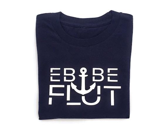 """Kids T-Shirt """"Ebbe & Flut"""" - Dark Blue Shirt - Ebb and Flow with Anchor"""