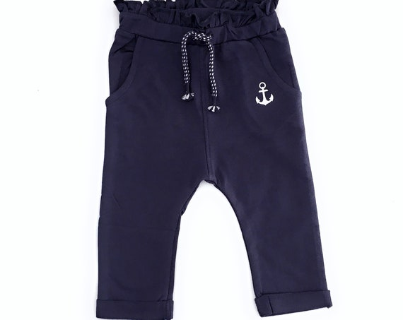 Baby Pants Anchor - Dark Blue - Baby Gift for Birth, Baby Pants Girl Anchor, Limited Edition 5 Pieces