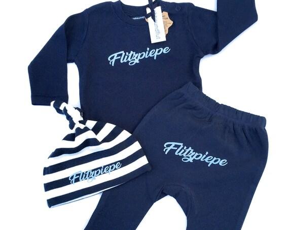 Flashpiepe Baby Set Dark Blue - Set of 3 - Baby Gift for Birth, Baby Gift Boy, Berlin, Hat, Top, Pants, Berlin Boy