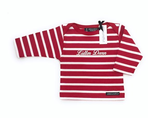 Baby Shirt Lütten Deern - Red White Striped Shirt maritim Girl, Breton Shirt Baby, Baby Gift for Birth