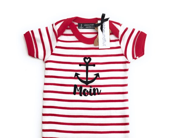 Baby Body Moin - White/Red - Maritime Babybody Moin with Anchor