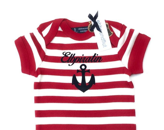 Maritime Baby Body Elbpiratin Anchor-Fair Trade, Baby Gift to Birth, Hamburg, Elbe, Piratin