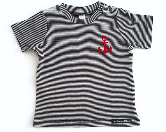 Maritime Baby Shirt Anchor - Blue/White Striped - Fair Trade & Organic - Baby Gift for Birth, Baby Shirt Anchor
