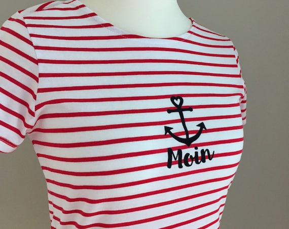 Light Summer Shirt Moin - Red White Striped - Maritime Women's Shirt Moin with Anchor - Slim Fit