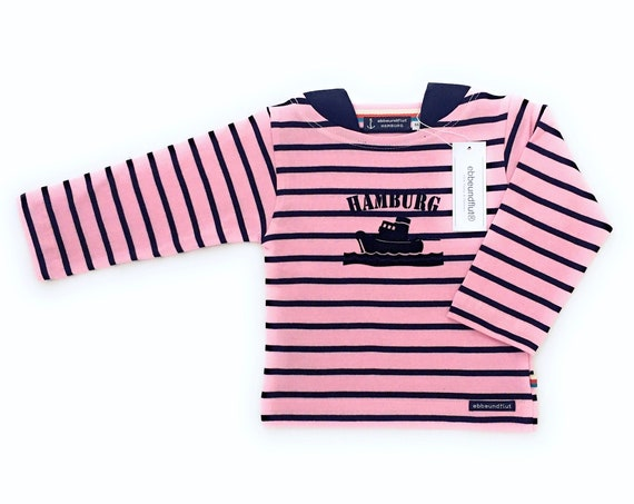 Breton Shirt Hamburg - dark blue/pink striped shirt maritim girl, baby Hamburg gift for birth, tug Hamburg