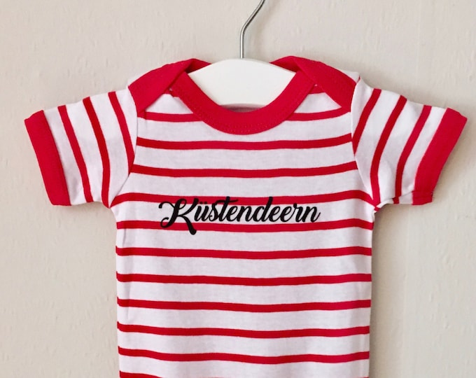 Baby Body Coastal Deers-white-tamed red-maritime, coastal girl, baby strampler summer, coast, beach, lower-stamped, holiday, North Sea, Baltic Sea