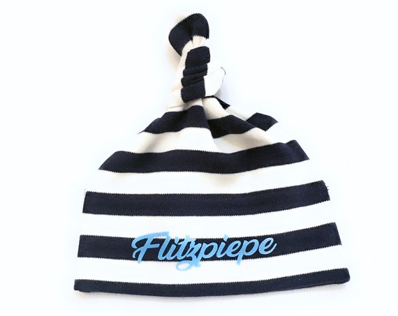 Baby Hat Flash Piepe - Fair Trade & Organic - Maritime Knot Hat, Baby Gift for Birth, Baby Hat with Stripes of ebbeundflut