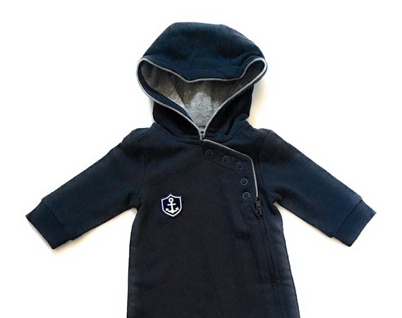 Maritime baby suit HAFEN CITY - dark blue/grey - jumpsuit, playsuit, maritim, anchor coat of arms, Hamburg, Hamburger Jung