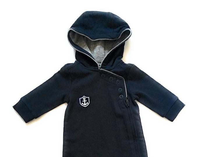 Maritimer Baby-Anzug HAFEN CITY  - dunkelblau/grau - Overall, Spielanzug, maritim, Anker Wappen, Hamburg, Hamburger Jung