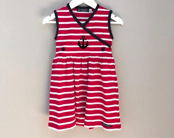 Dress anchor red/white striped - girls dress stripes, Breton dress, maritime kids dress anchor