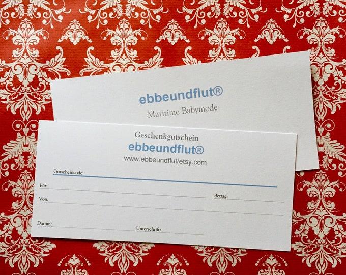 Gift voucher from 10 Euros from ebbeundflut, gift voucher, gift for baby clothes, Gift voucher Christmas, Baby gift voucher