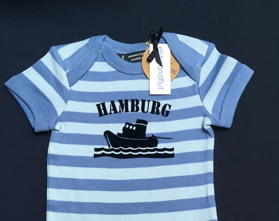 Maritime Baby Body SCHLEPPER HAMBURG - Fair Trade & Organic - Hamburg Gift, Hamburger Jung, Maritime Baby Gift, Hamburg