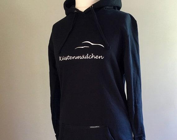 Ladies Longhoodie Coastal Girl - Dark Blue, Hooded Dress Seagulls, Hoodie Coast in sizes XS, S, M, L, XL