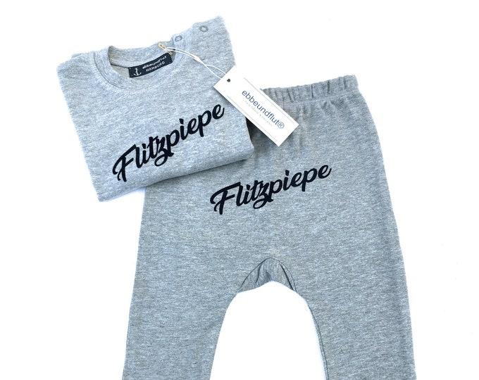 Flashpiepe Baby Set Grey - Baby Gift for Birth, Baby Gift Boy, Berlin, Top, Pants, Cute, Cheeky, Berlin Saying, Berlin Boy