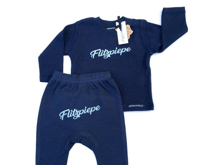Flashpiepe Baby Set Dark Blue - Baby Gift for Birth, Baby Gift Boy, Berlin, Top and Pants, Cute, Cheeky, Berlin Boy