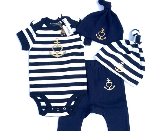 """Baby Set """"Anchor with Heart"""" Faith, Love, Hope - Baby Bodysuit, Hats, Pants - Blue White Gold, Birth Gift, Baptism, Anchor, Heart, Love"""