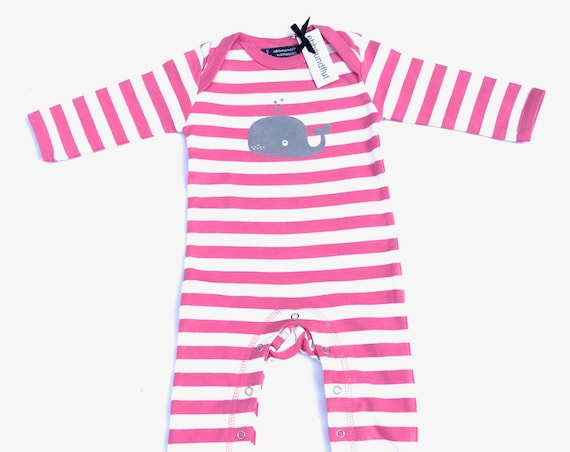 Baby strampler whale pink-and-white-fair-gift to birth, baby, baby strampler, whale, whale, Rompasuit, pyjama, striped