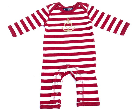 "Baby Romper ""Anchor with Heart"" Faith, Love, Hope, Red White Gold - Fair Trade & Organic - Baby Gift for Birth"