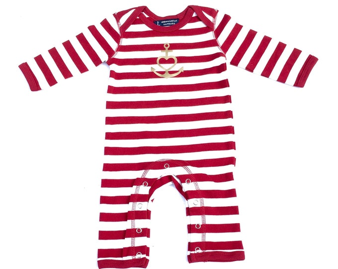 """Baby strampler """"Anchor with Heart"""" Faith, Love, Hope, Red White Gold-Fair, Gift to Birth, Baby, Baby Strampler, Rompasuit"""