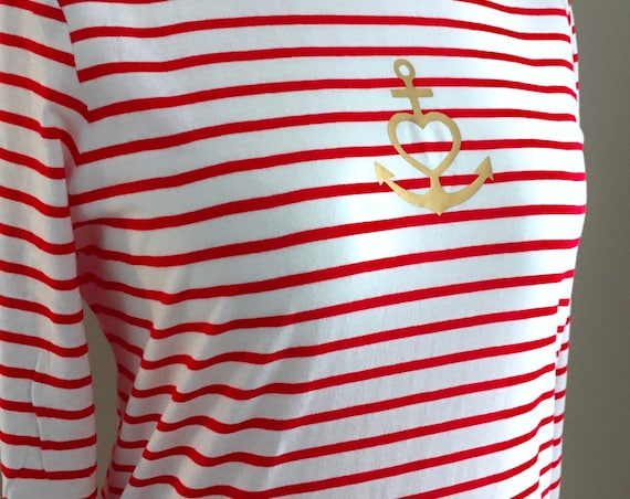 """Lightweight long sleeve shirt anchor - white red striped - Maritime women's shirt """"Faith Love Hope"""", Anchor with heart in gold - Slim Fit"""