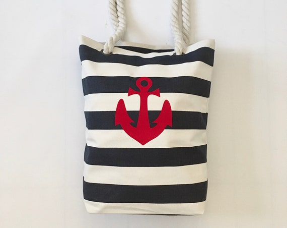 Beach bag maritim Anker Hamburg - made of linen canvas, Hamburg gift, striped beach bag anchor love