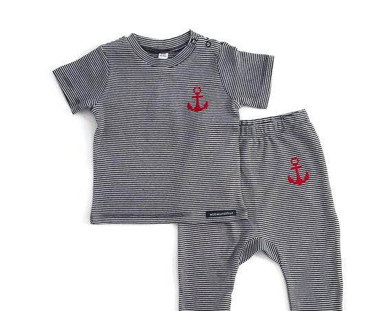 Maritime Baby Set ANKER - Blue White Striped - Fair Trade & Organic - Baby Gift for Birth, Baby Shirt and Pants, Baby Set Anchor