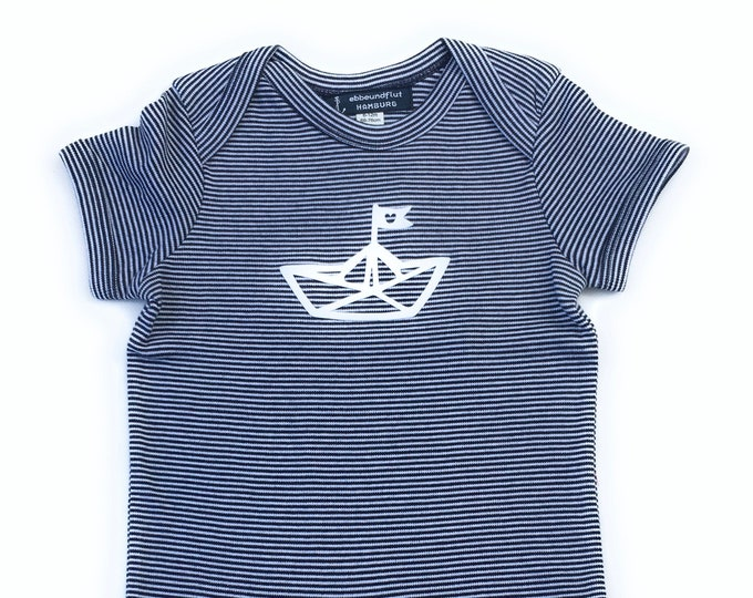 Maritime Baby Romper Paperboat - fair and organic - blue white striped - baby, romper, paper boat
