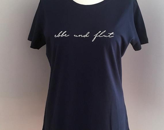 """Women's T-Shirt """"ebbe und flut"""" - dark blue - Maritimes women's shirt, Hamburg shirt ebbeundflut, - XXL/44"""