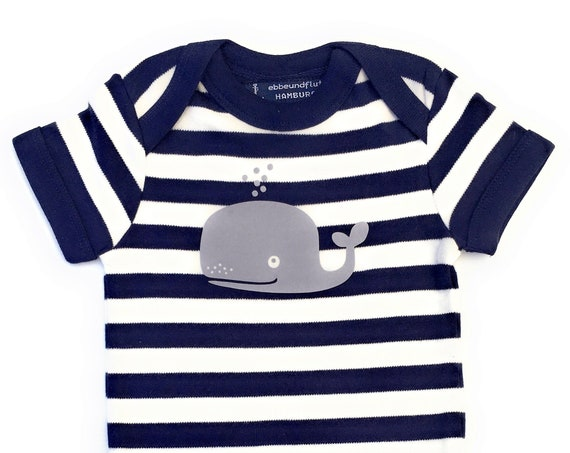 Baby Body Whale - Fair Trade & Organic - Blue White, Hamburg Gifts, Baby Gift for Birth, Maritime BabyBody Whale