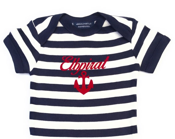 Maritime Baby Body Elbpirat-Hamburg-fair-blue white, Hamburg gift, baby strampler anchor, pirate