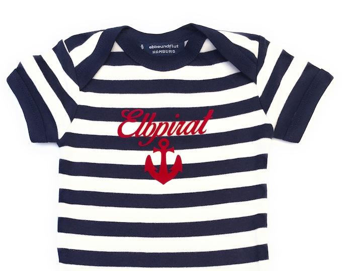 Maritime Baby Body Elbpirat-Hamburg-fair-blue white, Hamburg gift, baby strampler anchor, pirate